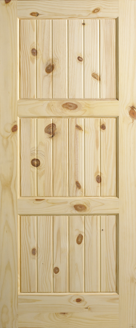 Knotty Pine 3 Panel V Groove